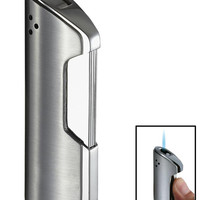 Pulsante Brushed Chrome Wind-Resistant Torch Flame Lighter