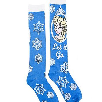 Blue Elsa Knee High Socks - Frozen - Spencer's