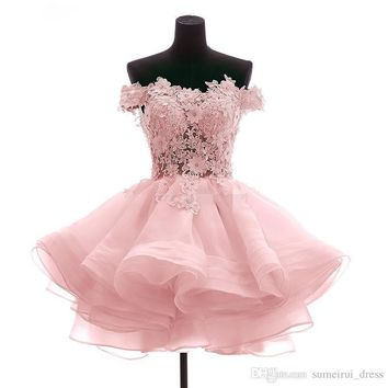fiesta cortos Party 2017 Off the Shoulder Short Mini Homecoming Cocktail Dresses Organza Prom Party Gowns