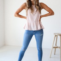 Pistola Anchor Blue Cropped Distressed Jean - Luca + Grae