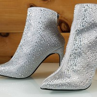 Silver Satin Iridescent Rhinestone High Heel Ankle Boot