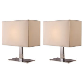 Bedroom Metal Table Lamp Set Chrome Finish with Off White Shades (2-Pack)