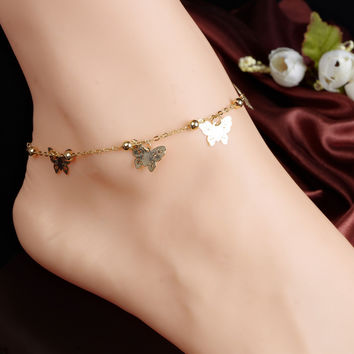 Women's Gold Butterfly Anklet Chain