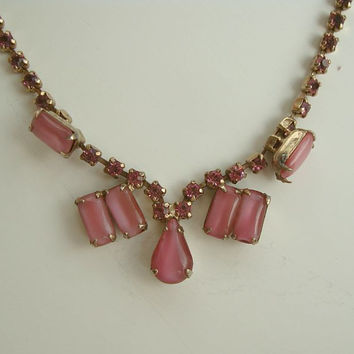 Pink Givre Glass Pink Rhinestones Necklace 16 inches Elegant Vintage Jewelry