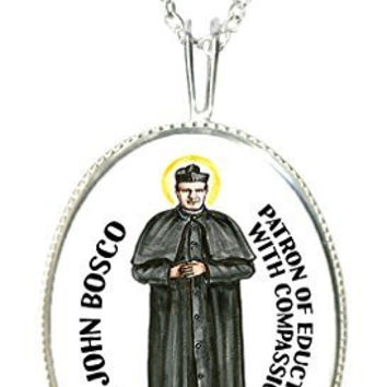 "St John Bosco for Education with Compassion 925 Sterling Silver 1"" Pendant & 20"" Chain Necklace"