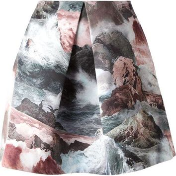 CREYONJF Carven front pleat ocean print skirt