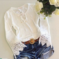 Lace Sexy Long Long Sleeve Round Necked Shirt blouse Top Casual Boho Top Shrit T-shirt b2211