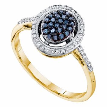 10kt Yellow Gold Womens Round Blue Color Enhanced Diamond Oval Cluster Ring 1/4 Cttw