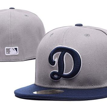 PEAPON Los Angeles Dodgers New Era MLB Authentic Collection 59FIFTY Cap Grey-Blue D