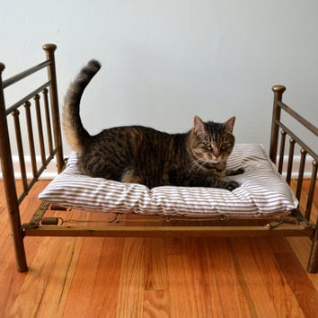 Vintage Brass Bed, Miniature Pet Bed, Salesman's Sample Metal Frame with Cushion, Cat, Dog Rest, 1930s Home Decor, Ottoman, Gold Tone Patina