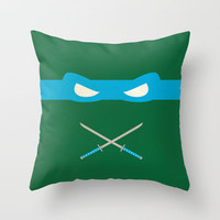 Blue Ninja Turtles Leonardo Throw Pillow by 1986