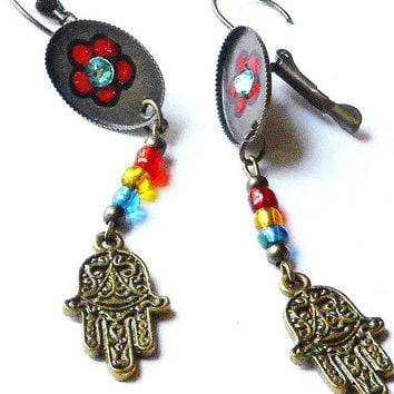 Boho Hamsa Earrings Hand Painted Hippie Bohemian Spiritual Jewelry FREE SHIPPING