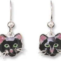 Black Cat Face Dangle Sterling Silver & Enamel Earrings
