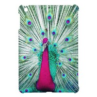 Bright regal peacock girly pink teal bird nature iPad mini covers from Zazzle.com