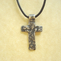 Silver Old Rugged Cross Necklace. Hand Forged Sterling Silver Cross