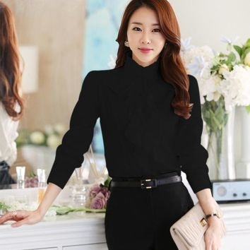 Chiffon Ruffles Women Shirts Lady White Shirts Long Sleeve Blouse