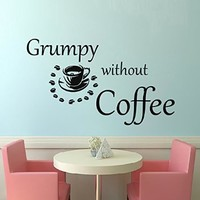 Wall Decals Quote Grumpy without Coffee Decal Vinyl Sticker Cup Coffee Beans Home Decor Interior Design Kitchen Cafe Restaurant Mural MN430