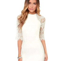 White High Neckline Sheer Lace Detailed Mini Dress