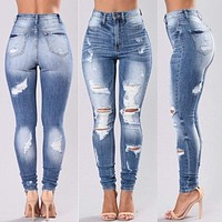 All-match Fashion Worn Ripped Jeans Slim-fit Pants Trousers