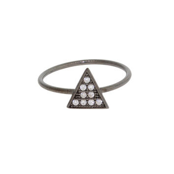 Sterling Silver Triangle Pyramid Geometric Cubic Zirconia Inlay Mid Finger Ring