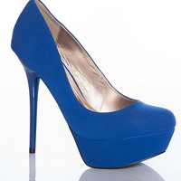 Qupid Dress To The Nines Daydream-36 High Heel Stiletto Pumps - Blue