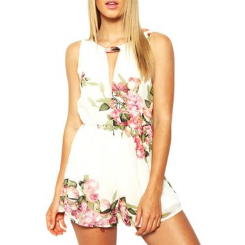 open back chiffon floral romper womens Summer playsuits jumpsuit 2017 summer cute feminino vestidos female overalls Clothing