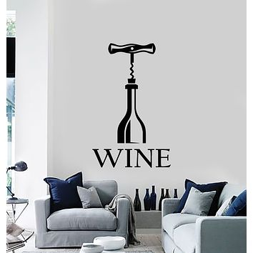Vinyl Wall Decal Bar Wine Corkscrew Alcohol Bottle Opener Kitchen Stickers Mural (g1258)