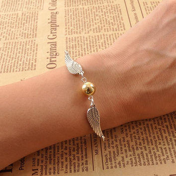 Sunshine Vintage Style Angel Wing Charm Golden Snitch Pendent bracelet Happy Potter For Men women Steampunk Quidditch Wing Clock