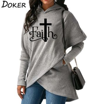 New Faith Letter Print Fashion Hoodies Sweatshirts Women Hooded Pullover Sweatshirt Female Casual Warm Tops 6 Colors