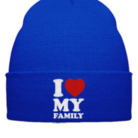 I LOVE MY FAMILY EMBROIDERY HAT - Beanie Cuffed Knit Cap