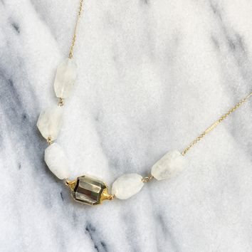 Chunky Moonstone and Pyrite nugget necklace