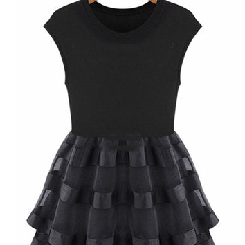 Cap Sleeve Pleated Overlay Skater Dress