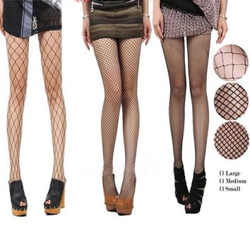 Hot Sale 1 Pair Women Sexy Pantyhose Mesh Fishnet Nylon Tights Long Stocking Jacquard Step Foot Seam Pantyhose High Over Knee