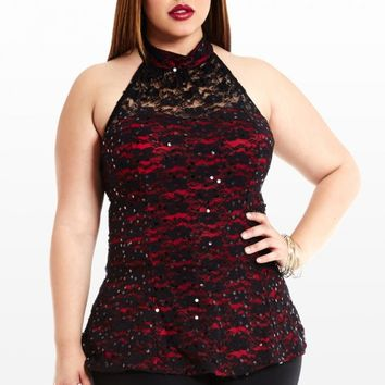 Plus Size Underlay Down Beside Me Halter Top | Fashion To Figure