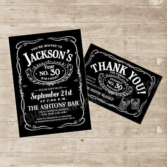 Whiskey Invitation Jack Daniels Inspired From