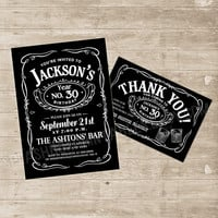 Whiskey Invitation Jack Daniels Inspired Invitations Jack Daniel's Party Invite bachelor 21st 30th 40th 50th any age Birthday thank you card