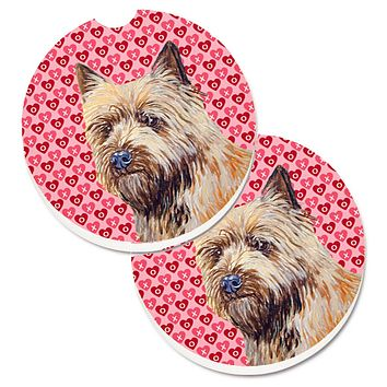 Cairn Terrier Hearts Love and Valentine's Day Portrait Set of 2 Cup Holder Car Coasters LH9140CARC