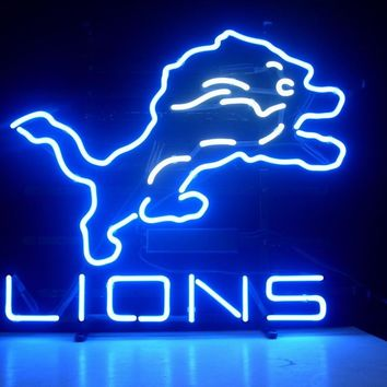"""Custom Business NEON SIGN board For LED DETROIT LIONS  REAL  GLASS Tube BEER BAR PUB Club Shop Light Signs 17*14"""""""