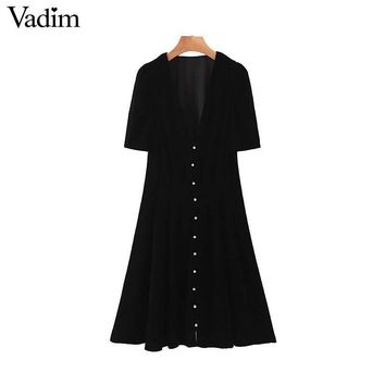 Vadim women stylish velvet mini dress V neck short sleeve side zipper A line female retro casual dresses vestidos QC975