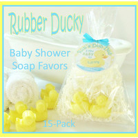 15 RUBBER DUCKY Baby Shower Soap Favor Pack - personalized, party, custom gift tag, gift wrapped, duck, duckie