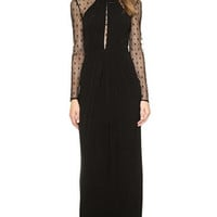 Black Long Sleeve Maxi Dress with Mesh Accent