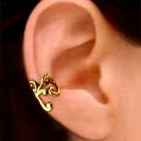 Empire ear cuff gold brass earring jewelry - Right earcuff for men and women 081212
