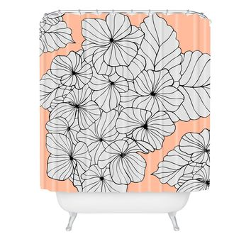 Gabi Hydrangea Peach Shower Curtain