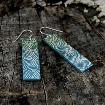 Ceramic earrings - shiny ranbow, gradient colors, tourquoise, blue, indigo