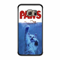 Paws Jaws Parody Funny Cat Attack Samsung Galaxy S6 Edge Case