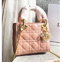 DIOR Trending Women Stylish Multicolor Leather Handbag Crossbody Satchel Bag Pink