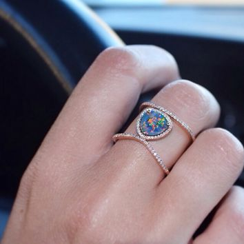 14kt gold and diamond Petite Triangle Double Band Opal ring – Luna Skye by Samantha Conn