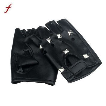 ac PEAPO2Q Gloves Men Theatrical Punk Hip-hop PU Black Leather Gloves Half-finger Gloves Square Nail Guantes