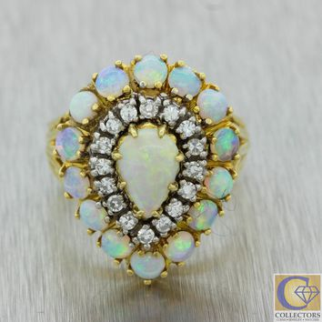 Vintage Estate 18k Yellow Gold Fire Opal .32ct Diamond Pear Shaped Cocktail Ring