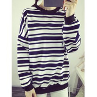 Casual Style Jewel Neck Long Sleeve Striped Loose-Fitting Women's Sweatshirt